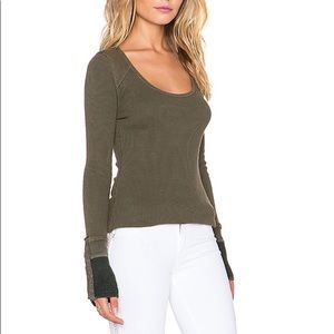 Free People thermal sunnie valley snap cuff shirt